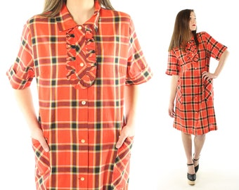 Vintage 60s Tuxedo Dress Red Plaid Short Sleeves Buton Up Lounge Wear Sundress 1960s Large L Morgan