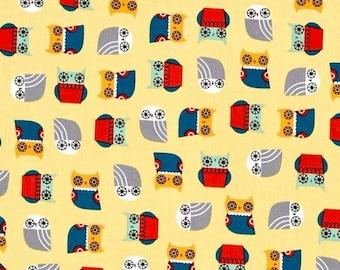 Robert Kaufman Suzy's Minis Owl- Yellow/Cotton/Fabric/Sewing/Quilting