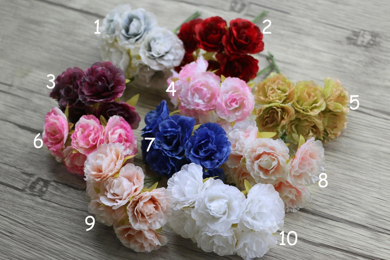 Bunch Of 6 Millinery Silk Flower Bouquet Flower Arrangements