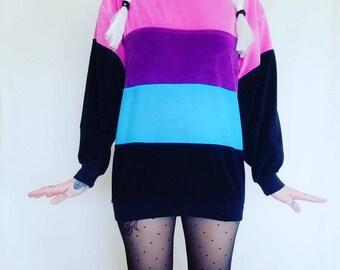 Vintage Avant Garde Colorblock Turtleneck Velour Sweater Sweatshirt Mini Dress