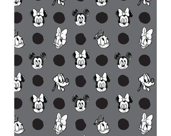 Mickey Mouse Fabric Disney 100% Cotton Fabric - Mickey and Friends Camelot Fabrics - Character Jumbo Dots in Iron - By the Yard