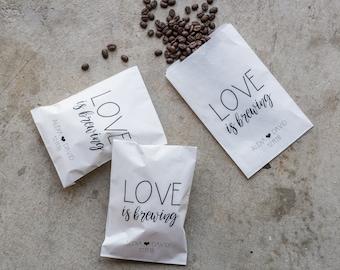Love Is Brewing Wedding Favor Bags - Coffee Favors, Tea Favor Bags, Bridal Shower Favors, Coffee Favor Bags, Custom Favor Bag