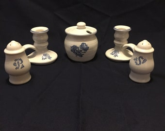 Pfaltzgraff Yorktowne Jam Honey Pot, Candle Holders & Salt and Pepper Shakers
