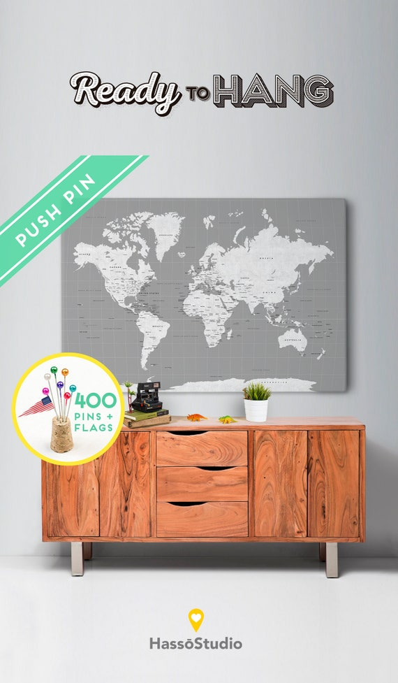 Outdoors gift world map canvas rustic gray color ready to like this item gumiabroncs Gallery