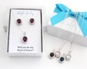 Maid of Honor Gift, Thank You For Being My Maid Of Honor, Maid Of Honor Proposal, Amethyst Swarovski Stud Earrings, and Necklace Set Option
