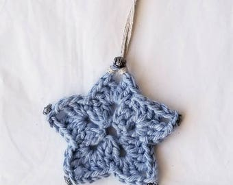 Crocheted Ornament Blue Star with Gunmetal Accents