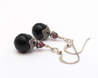 Gemstone Earrings, Black Onyx Garnet Earrings, Sterling Silver Earrings, Dangle Drop Earrings, Black Earrings, Silver Jewelry, Gift for Her