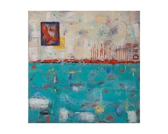 Abstract painting / abstract art original, abstract original painting, blue white abstract art / seascape abstract art/