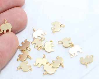 10 Pcs 24K Tiny Gold Plated Charm, Gold Plated Elephant Charm, Jewelry Charm Findings , Metal Charm,Gold Plated Charms - RM7-BRT244