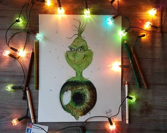 ORIGINAL DRAWING - surreal drawing of the Grinch/eye
