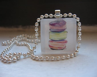 Macarons Necklace Watercolor Art Glass Tile Necklace