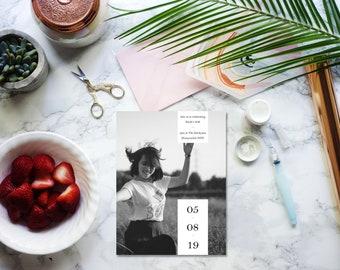 Printable elegant minimalist birthday invitation. Fully personalised photo and text.