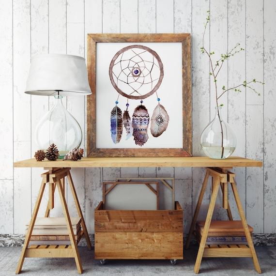 Boho dreamcatcher | Paper Poster | Native american Feathers | Watercolor Hippie art | Wall art decor | Archival print | ZuskaArt