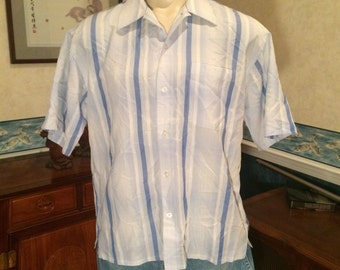 Casual Resort Shirt - 1990s - Striped - Mens - Blue, White - Pineapple Connection - Extra Large