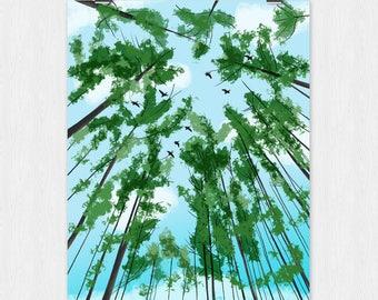 Sky / Birds / Day / Trees /  Wall Art / 16x20 / 8x10 / Digital Art / Instant Download / Printable Art / Illustration / Looking Up