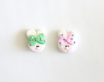 Easter Bunny Bow Center - Polymer Clay Easter Bunny - Easter Bunny Embellishment - Set of 2 Easter Bunny Bow Centers