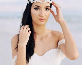 Bridal Wreath. Silver Beaded Bridal Crown. Bridal Hair Accessory {Anna}