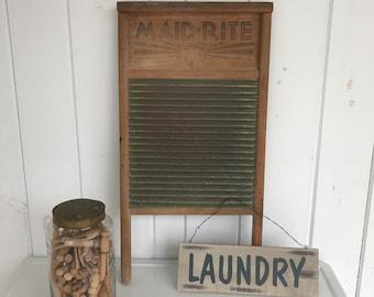 Washboard Maid Rite No 2062 Brass & Wood Columbus Washboard Co Clothes Scrubber Primitive Scrub Board Laundry Board