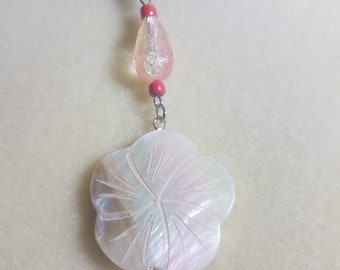 White Shell Flower Glass Bead Pullchain for Ceiling Fan or Lamp