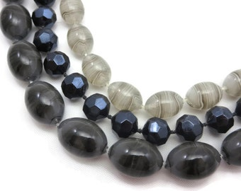 Selini Grey Beaded Necklace - Multi Strand Lucite Costume Jewelry
