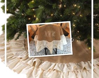 Primitive Tree Skirt | Burlap Tree Skirt | Rustic Tree Skirt | Monogram Tree Skirt | Embroidered Tree Skirt | Farmhouse Tree Skirt