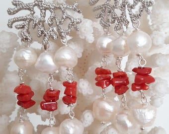 White Baroque pearl earrings, Mediterranean Red coral and brass