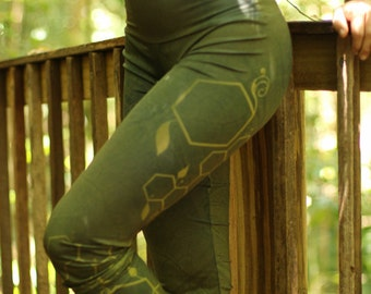 GREEN BEE Yoga Leggings /Pants / Bees / Geometry / Fractal/ Goddess / dance wear / yoga wear / geometric leggings / active wear