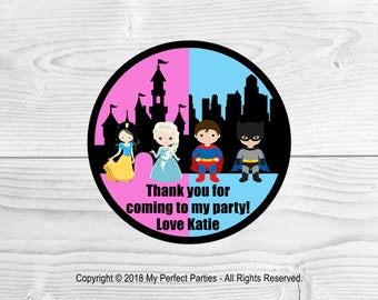 Personalised Princess and Superhero Birthday Party Stickers Thank You Seals - PACK OF 35