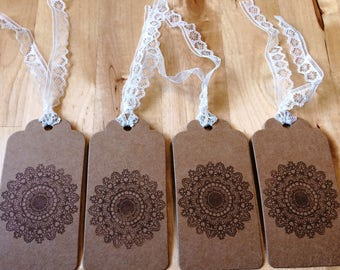 Gift tags set of 4: lace