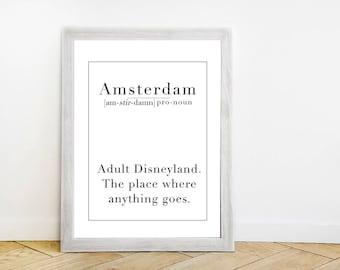 Amsterdam Definition Wall Art Print - Black + White Travel Poster - Wanderlust Quote - Funny Minimalist Traveler Typography Artwork