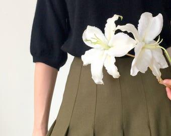 Megomi Skirt (Japanese vintage, petit size)- deep olive wool blend pleated skirt