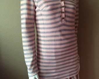 Vintage Women's 60's Julie Miller, Dress, Pink, Grey, Striped, Long Sleeve (M)