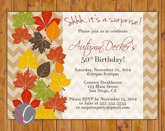 Automne feuilles Surprise d'anniversaire invitation automne 60e 50e n'importe quel âge Invitation Chevron motif fichier numérique JPG de 5 x 7 (359)