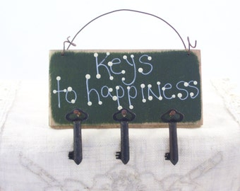 Keys to Happiness Handmade Wood Sign