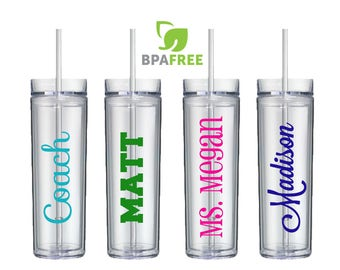 Personalized Tumbler - Personalized Cups with Straws - Skinny tumbler - Personalized Water Bottle - Coach Gift - Teacher Gift - Name Tumbler