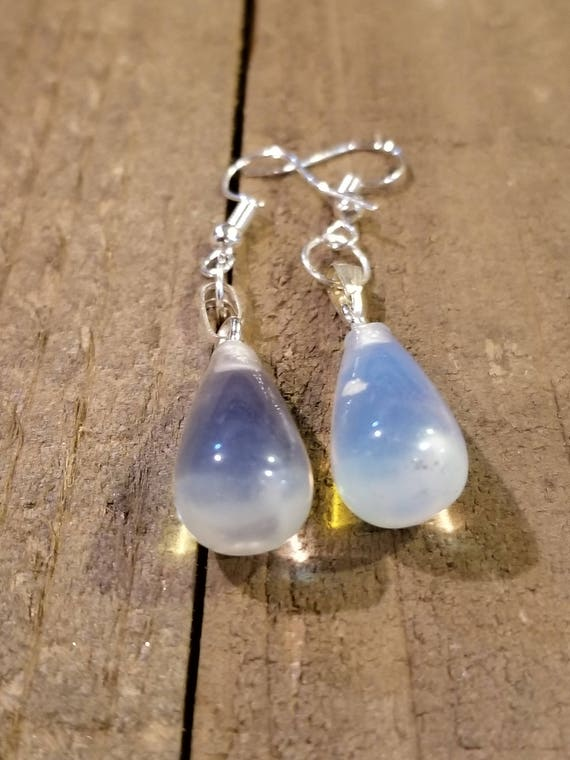 Clear Quartz Crystal Stone Gem Drop Dangle Earrings Style Nature Fashion Natural Earth Hippie Boho Jewelry (E68)