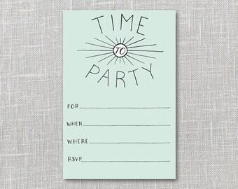 Deco Party Invitation Printable Instant Download PDF