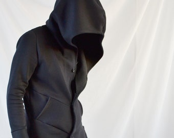 Underworld Hoodie ( innovative blazer suit coat like hoodie with extra large hood tailored customizable buttons elegant innovative shadow)