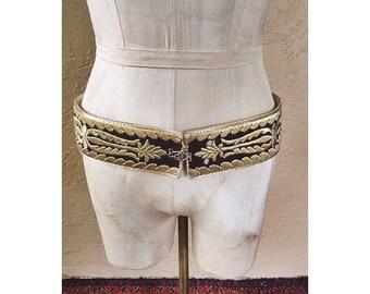 Vintage Ottoman Turkish leather embroidered gilt handmade belt MET opera