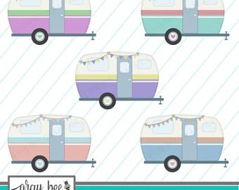 SALE-Vintage Camper (Pastels) Camper with Bunting-Camper-Clipart Set,Commercial Use,Instant Download, Digital Clipart, Digital Images- CP242