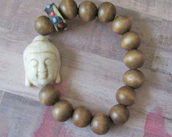 Large Beige Buddha Beaded Stretch Bracelet with Wood Beads