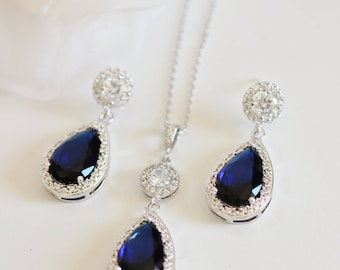 Bridal Jewelry Set Blue Wedding Jewelry Set Sapphire Blue Wedding Earrings and Necklace Set Something Blue Crystal Bridal Set