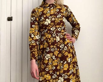 70's yellow and brown floral dress