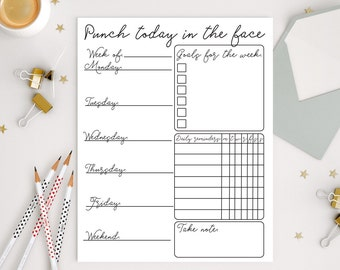 Punch today in the face print, weekly planner printable, To do list Print, To do list printable, Goals print, Goals printable, Goals list