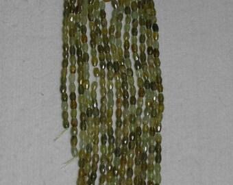 Green Garnet, Green Garnet Oval, Faceted Oval Bead, Natural Stone, Olive Green, Semi Precious Bead, Full Strand, 6-7mm, AdrianasBeads