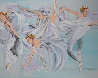 Dancing is blue our lives, fairy dance, pushing, acrylic painting, women, dance, original art, Ballet, group of people, painting.