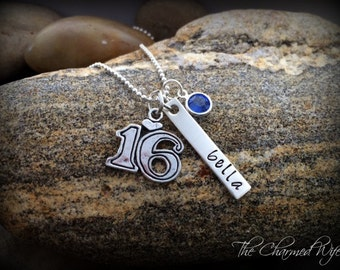 SWEET 16 Jewelry - Gift ideas for Sweet 16 - Hand Stamped Jewelry - Personalized Name Birthstone Necklace - Personalized - Unique Teens