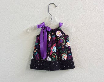 "Baby Girl Day of The Dead Dress & Bloomers - Infant Sugar Skull Dress - ""Dia de los Muertos"" Sun Dress -  Size Nb, 3m, 6m, 9m, 12m or 18m"