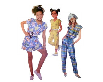 Girl's Jumpsuit, Jumper, Short or Long Pants, Sewing Pattern Child Size 8 Bust 27 Easy to Sew Uncut McCall's 3126
