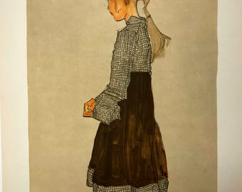 "Egon Schiele ""Little Austrian Girl"" from Egon Schiele-As a Draughtman by Otto Denesch, 1950, 9.25 x 13.5 inches"